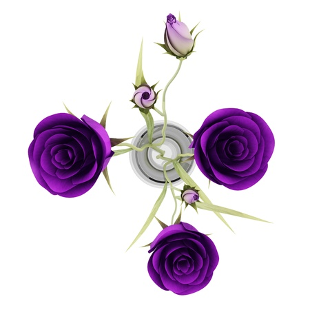 top view of purple eustoma flowers in glass vase isolated on white background Stock Photo - 17600948