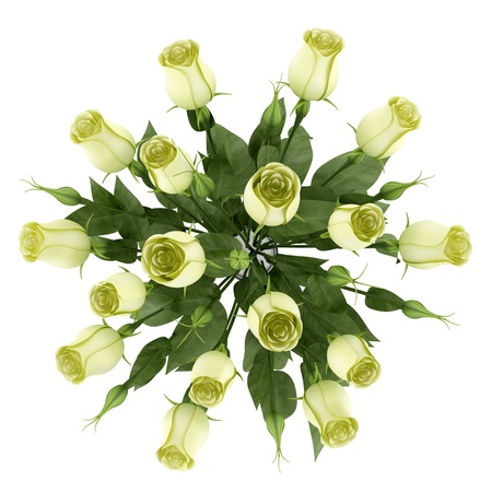 top view of yellow eustoma flowers in glass vase isolated on white background photo