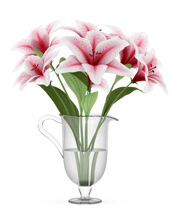 bouquet of pink lilies in vase isolated on white background Stock Photo - 17728862