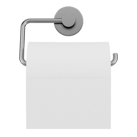 toilet paper on holder isolated on white background photo
