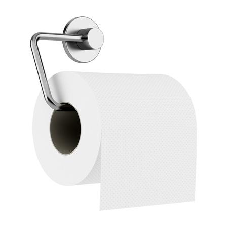 papel higienico: papel higiénico en el soporte aislado sobre fondo blanco Foto de archivo