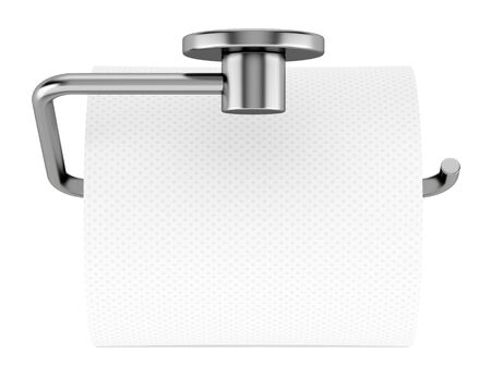top view of toilet paper on holder isolated on white background photo