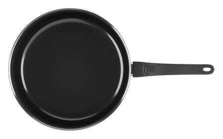 top view of single black cooking pot isolated on white background photo