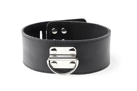 black leather fetish collar isolated on white background
