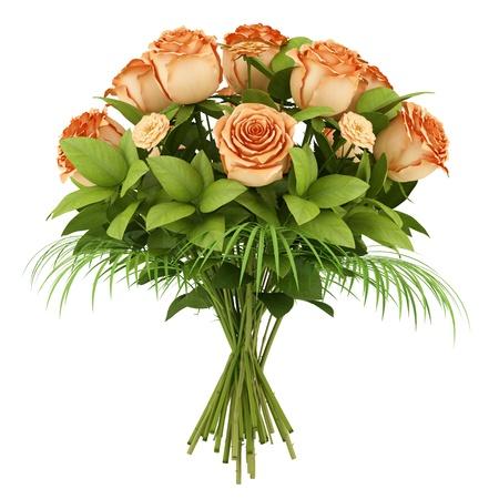 bouquet of orange roses isolated on white background Stock Photo - 18170340