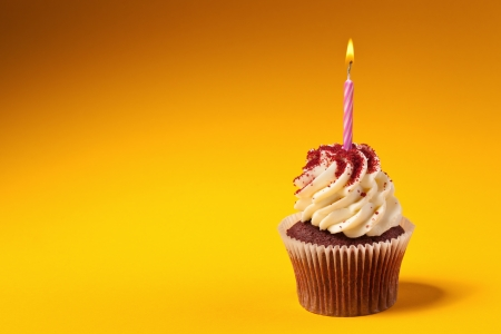 cupcakes isolated: chocolate cupcake with candle isolated on orange background with copyspace