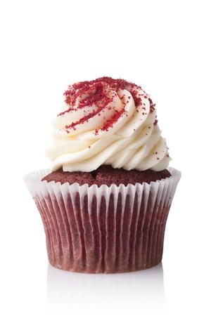 birthday cupcakes: chocolate cupcake with cream isolated on white background Stock Photo