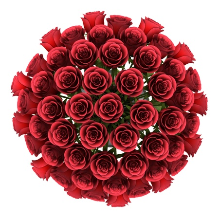 top view bouquet of red roses in vase isolated on white background Stock Photo - 18534927