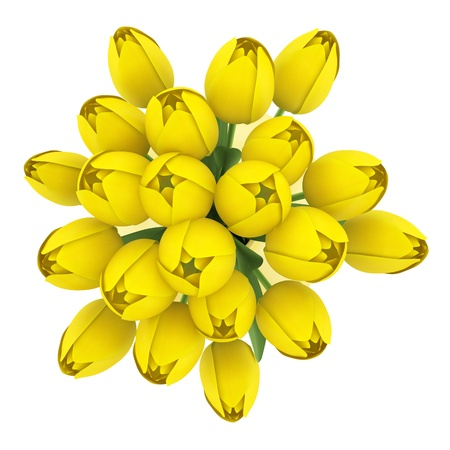 top view bouquet of yellow tulips in vase isolated on white background Stock Photo - 18586920