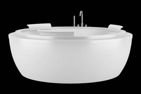 modern round bathtub isolated on black background photo