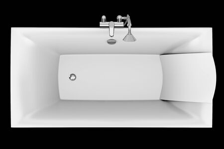 top view of modern bathtub isolated on black background photo