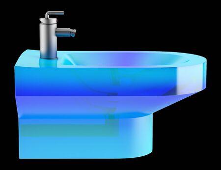bidet: blue glass bidet isolated on black background Stock Photo