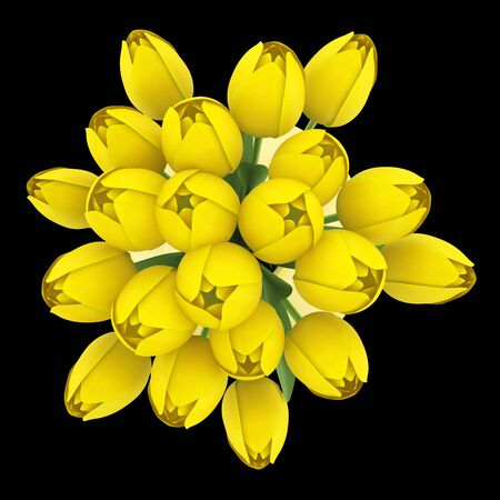 top view bouquet of yellow tulips in vase isolated on black background photo