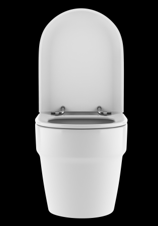 toilet bowl: single modern toilet bowl isolated on black background