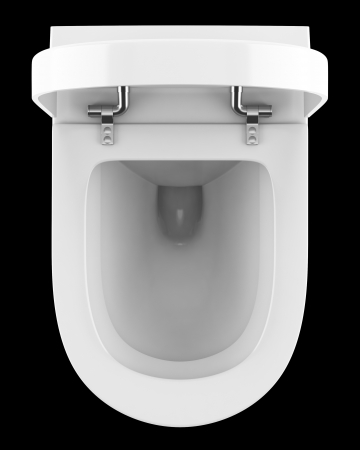 flushing: top view of modern toilet bowl isolated on black background Stock Photo