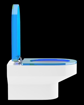 single modern toilet bowl with blue cover isolated on black background Stock Photo - 18877693