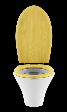 single modern toilet bowl with wooden cover isolated on black background Stock Photo - 18877652