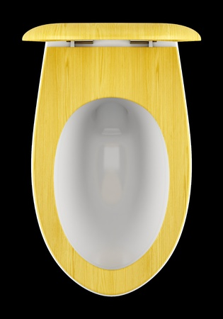 top view of modern toilet bowl with wooden cover isolated on black background Stock Photo - 18877660