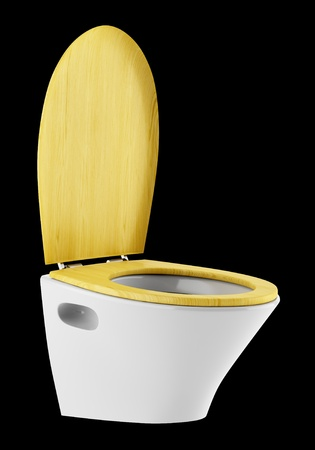 toilet bowl: single modern toilet bowl with wooden cover isolated on black background