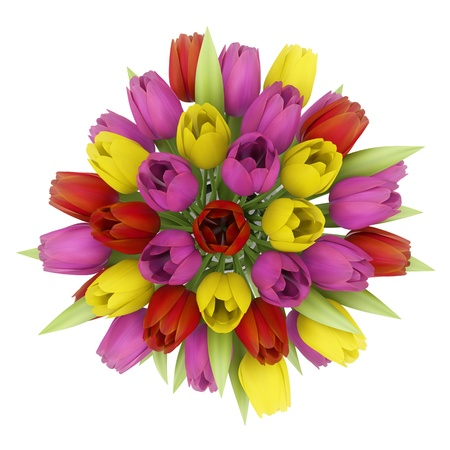 top view bouquet of tulips in vase isolated on white background Stock Photo - 18984901