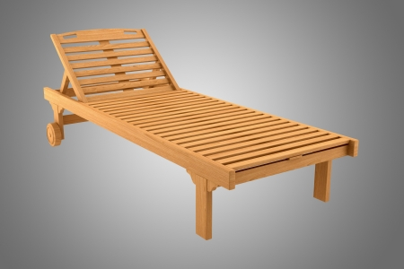 deck chair: wooden beach chair isolated on gray background