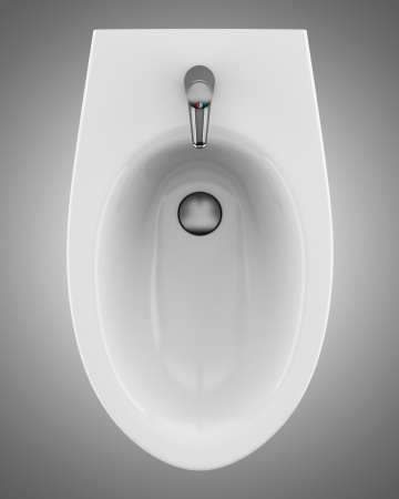 top view of ceramic bidet isolated on gray background Stock Photo - 19057220