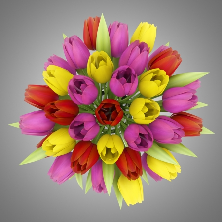 top view bouquet of tulips in vase isolated on gray background Stock Photo - 19057299