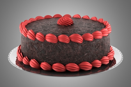 round chocolate cake with pink cream isolated on gray background