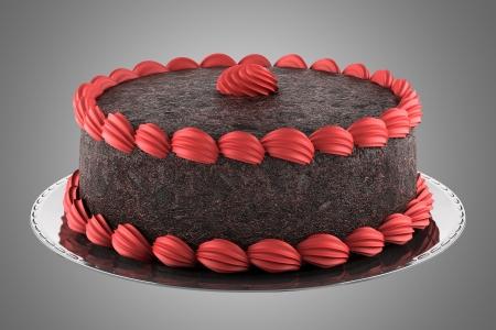 Runde Schokoladenkuchen mit rosafarbener Creme auf grauem Hintergrund isoliert Standard-Bild