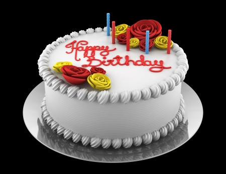 round birthday cake with candles isolated on black background