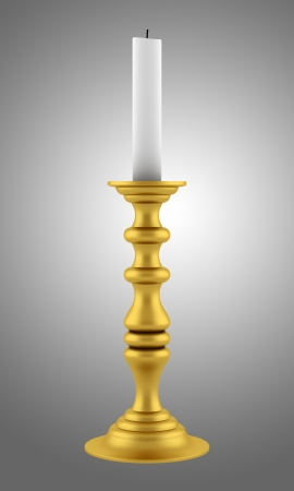 candle holders: golden candlestick with candle isolated on gray background