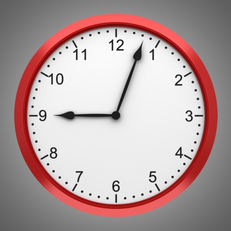 wall clock: red round wall clock isolated on gray background