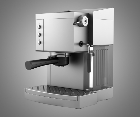 espresso machine: modern coffee machine isolated on gray background