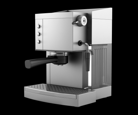 espresso machine: modern coffee machine isolated on black background  Stock Photo