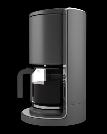 with coffee maker: modern coffee machine isolated on black background Stock Photo