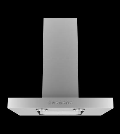 aspirator: modern metallic cooker hood isolated on black background