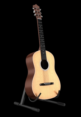 acoustic guitar on stand isolated on black background  Stock Photo - 20202218