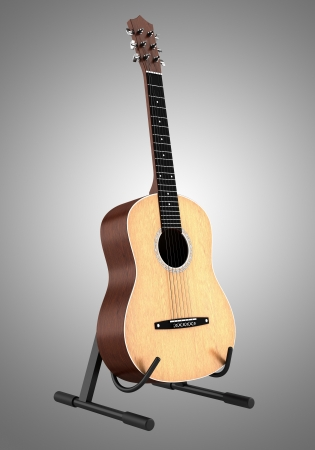 stringed: acoustic guitar on stand isolated on gray background