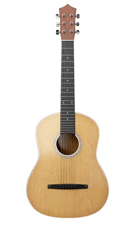 country music: acoustic guitar isolated on white background