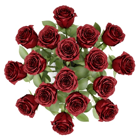 top view bouquet of red roses in vase isolated on white background photo