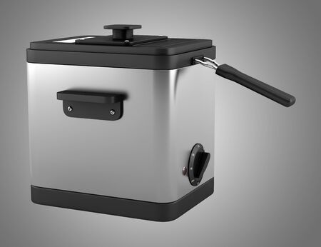 fryer: modern deep fryer isolated on gray background  Stock Photo