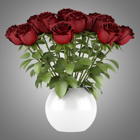 bouquet of red roses in vase isolated on gray background Stock Photo - 20435107