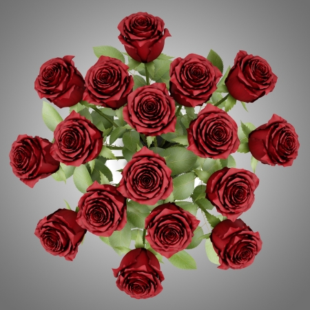top view bouquet of red roses in vase isolated on gray background Stock Photo - 20435114