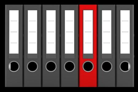 red file folder among similar gray folders isolated on black background Stock Photo - 20545139