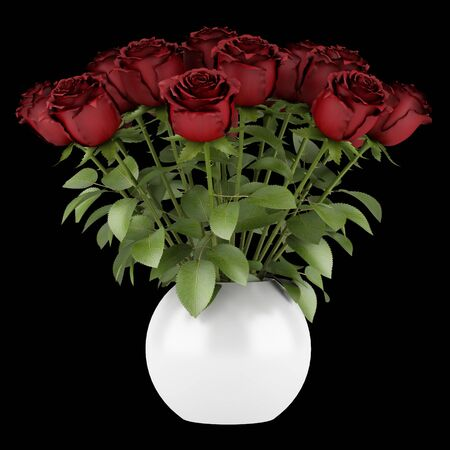 bouquet of red roses in vase isolated on black background photo