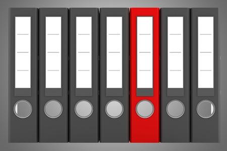 red file folder among similar gray folders isolated on gray background Stock Photo - 20545172