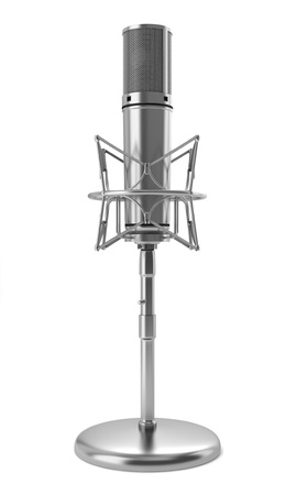 studio microphone on stand isolated on white background photo
