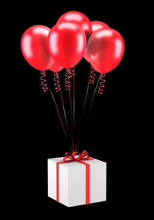 gift box with red balloons isolated on black background Stock Photo - 20545241
