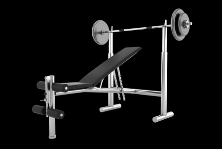 gym equipment: gym bench isolated on black background