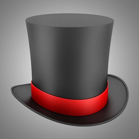 black top hat with red strip isolated on gray background photo